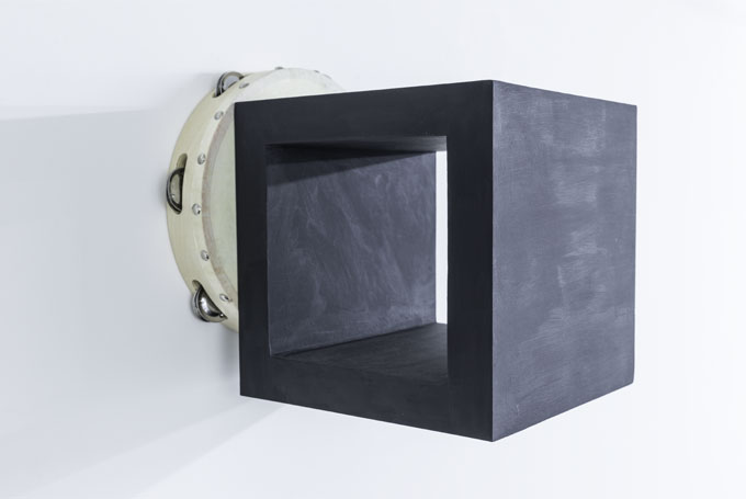 Paul Lee, Untitled (Tambourine), 2014 Tambourine, acrylic, pastel, wood glue, birch plywood, screws 27,9 x 30,5 x 30,5 cm