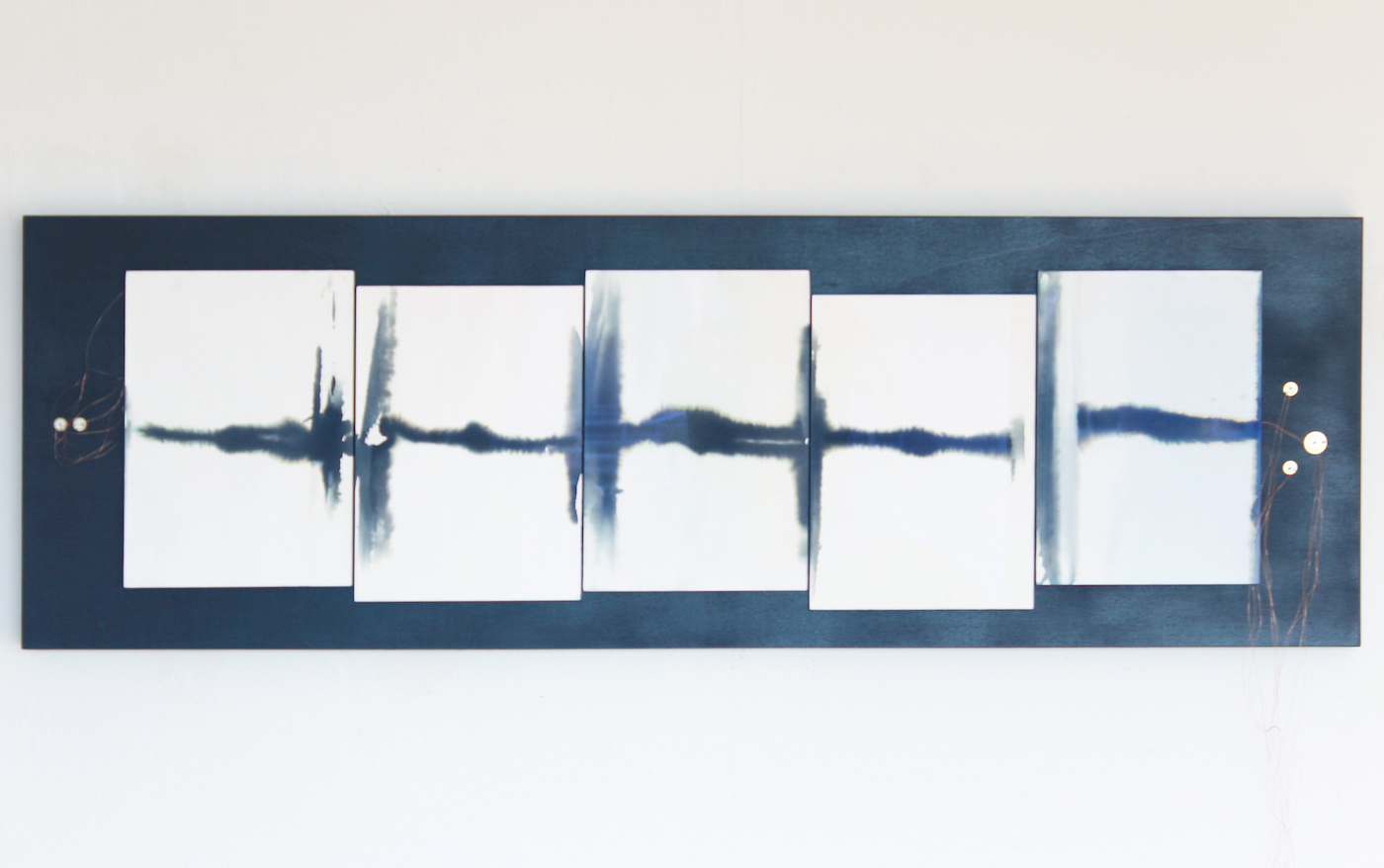 Juliana Herrero, a white noise, the grilles and the sea, 2016 (125 cm x 40 cm x 5 cm) Wall object with sound; non washed blue prints as synesthesia, museum glass, anthracite board, copper wire, piezo's, electronic heart, sound on playback.
