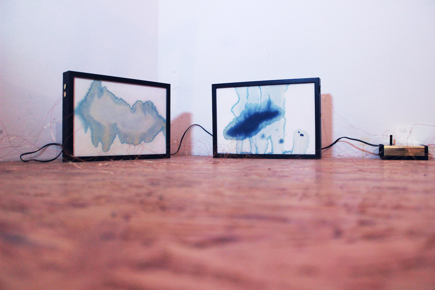 Juliana Herrero, Sonoides 1+2, 2016 (27,3 x 18,8 cm x 4 cm) each. Mixed media sounding sculpture: microsound and watercolor blue print technique as synesthesia, copper wire, piezo's, electronic heart, sound on playback. View of diptych sounding paintings installed.