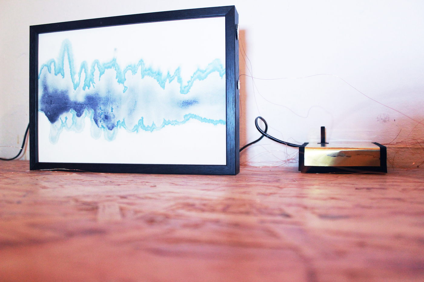 Juliana Herrero, Sonoides 5,2016 (27,3 x 18,8 cm x 4 cm) Mixed media sounding sculpture: microsound and watercolor blue print technique as synesthesia, copper wire, piezo's, electronic heart, sound on playback.