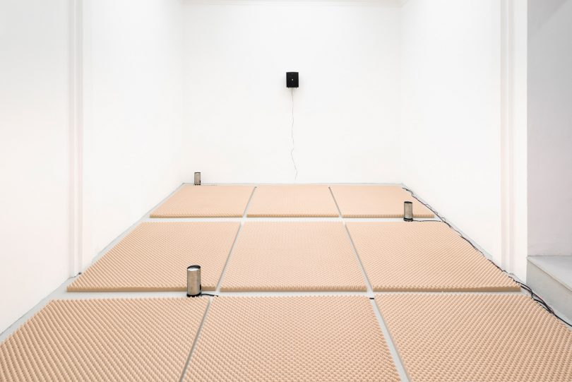 Hanne Lippard, 101 misspellings of Cappuccino mp3, 2016, digital audio, acoustic foam panels, automatic milk foamers, organic milk, No Milk Today, 2016 (digital audio file, 16 min looped), LED sign, size variable, audio 4:10 min