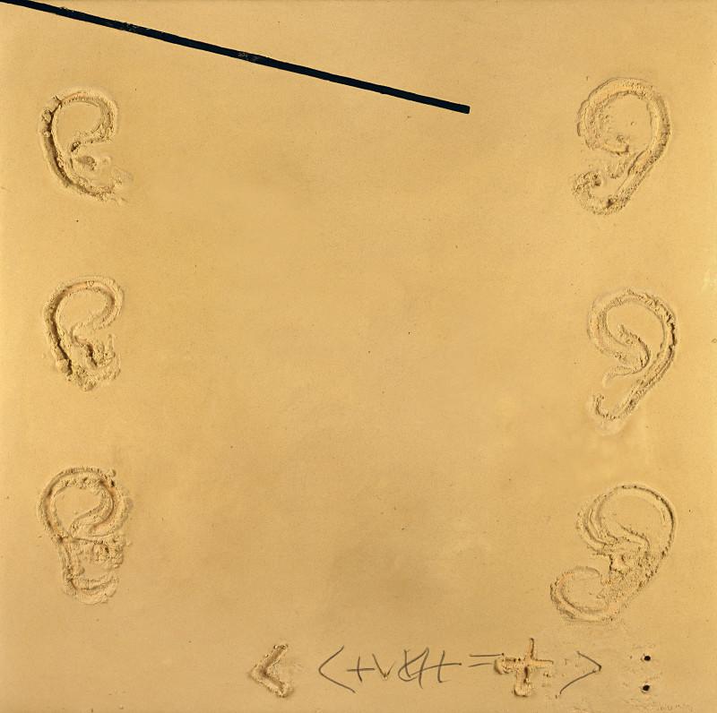 Antoni Tàpies, Sis orelles Galerie Lelong  Mixed media on wood 201.0 × 201.0 Size (cm)