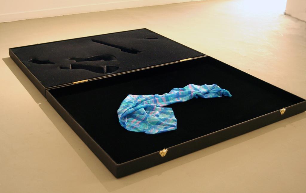 Blue Eyes, Dedicated to Leah Tsabar , 2007 Wood, fabric and silk scarf, 2.7'' x 55'' x 82.5''