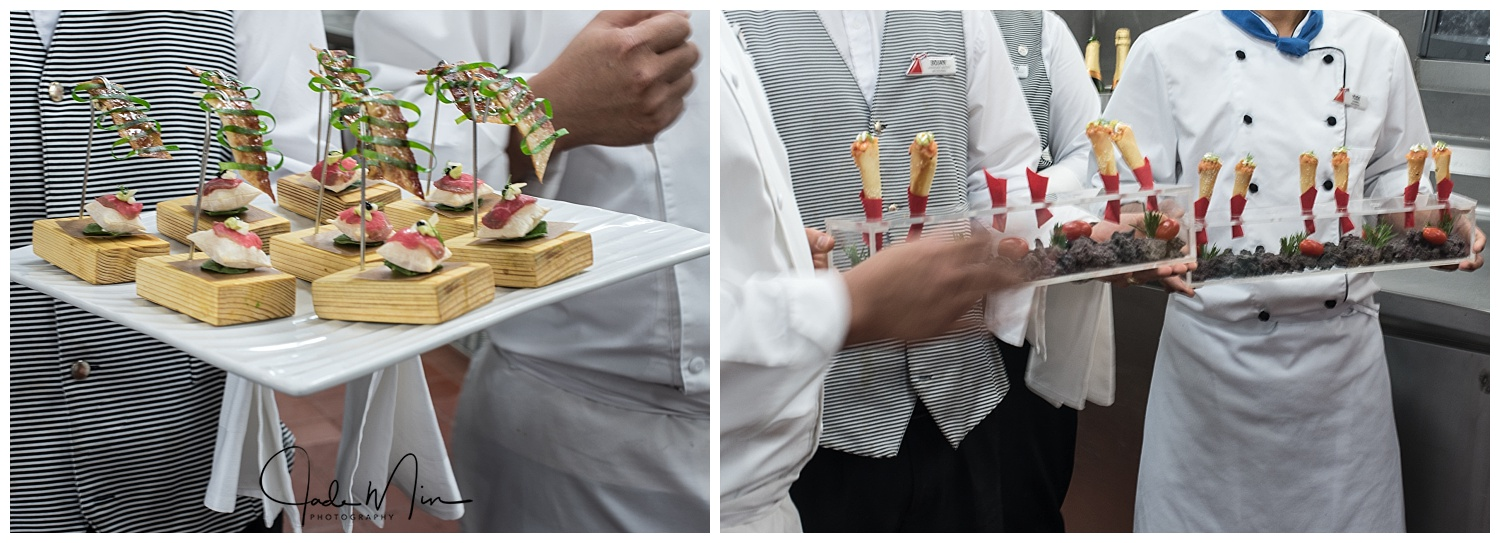 Left:  Beef Carpaccio on an Air Pillow, Chocolate Bacon, Apple Ribbon!                             Right:  Salmon Tartar Cornets, Sesame Seeds