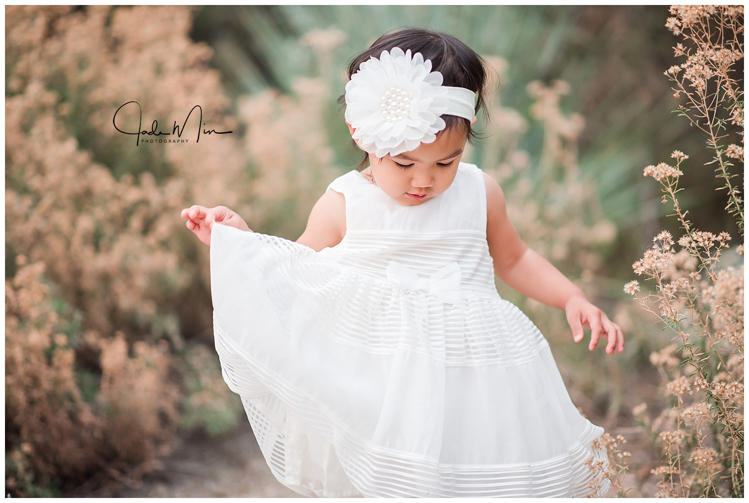 Children's Photography, Little White Dress, Dancing at the Park, Jade Min Photography