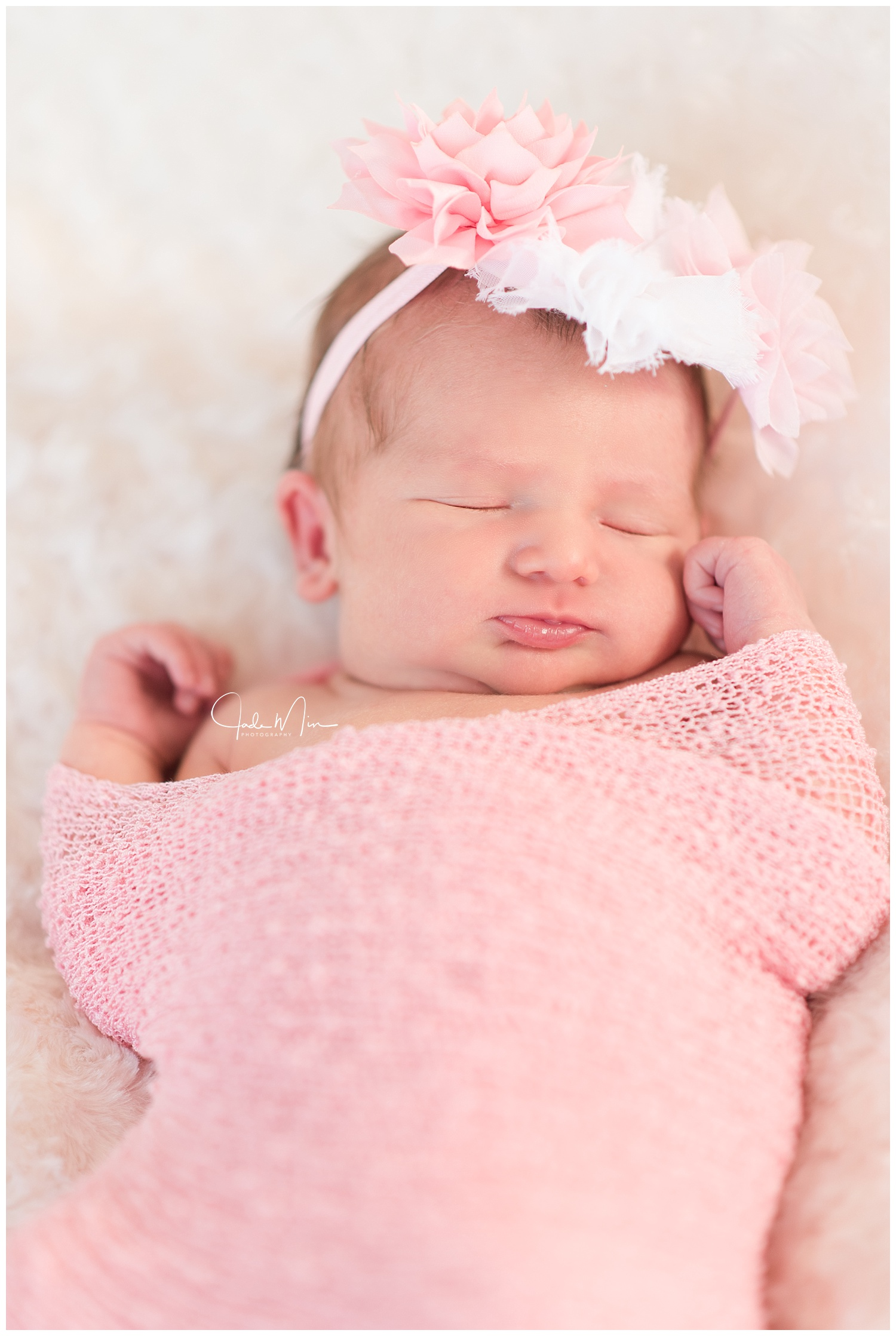Baby Amelia is pretty in pink for her newborn session at the Florez family home in Scottsdale, Arizona.