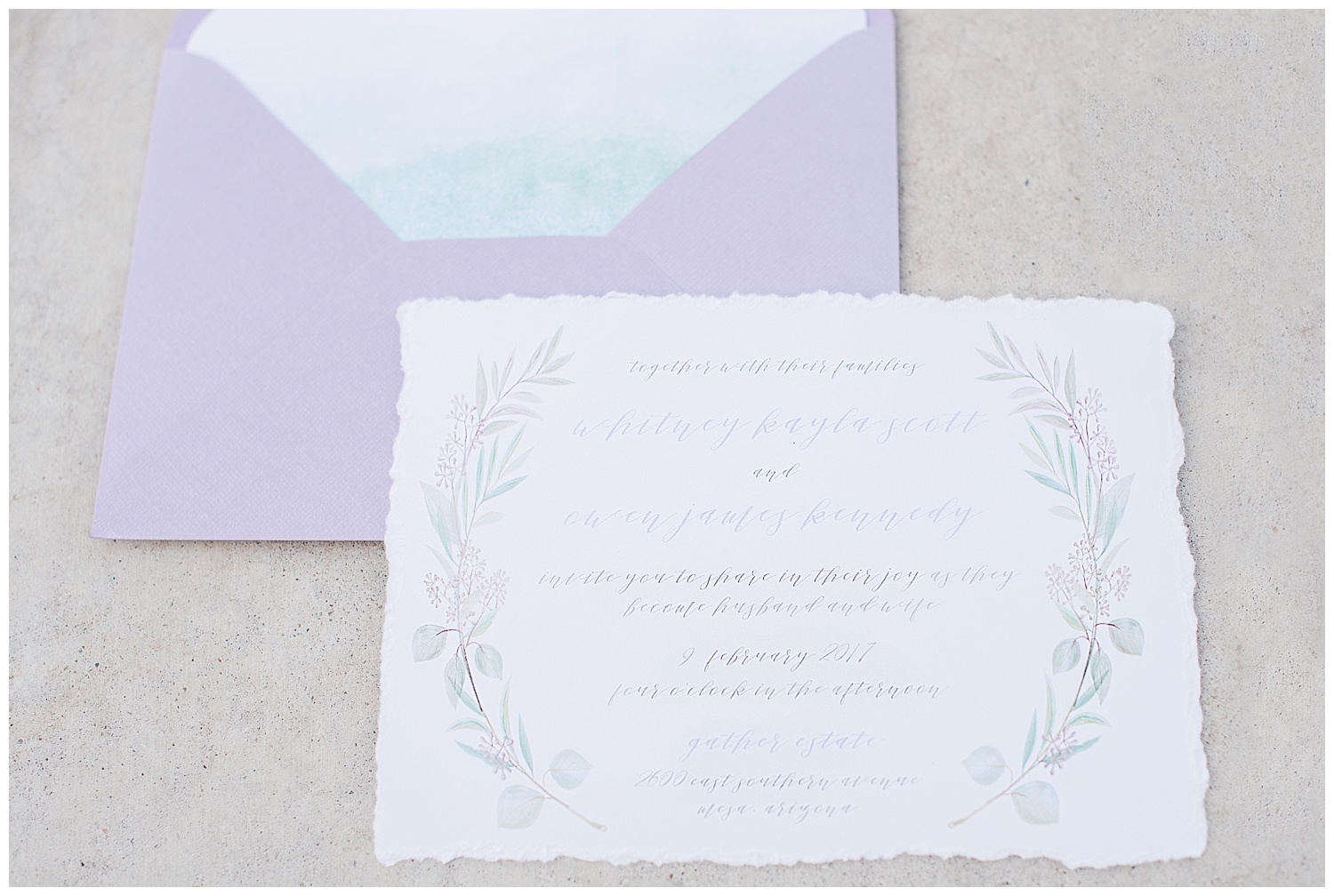 Romantic wedding invitation suite by Nora Belle Designs, photographed at Gather Estate in Mesa, Arizona.