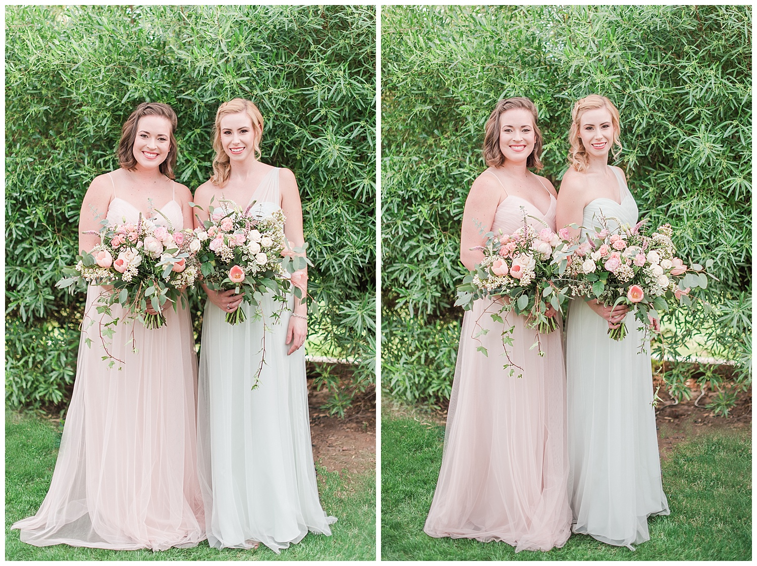 Bridesmaids Savannah and Yvette wearing dresses provided by Bella Bridesmaids in Scottsdale and holding bouquet made with love by Garden Gate Flowers, photographed at Gather Estate in Mesa, Arizona.