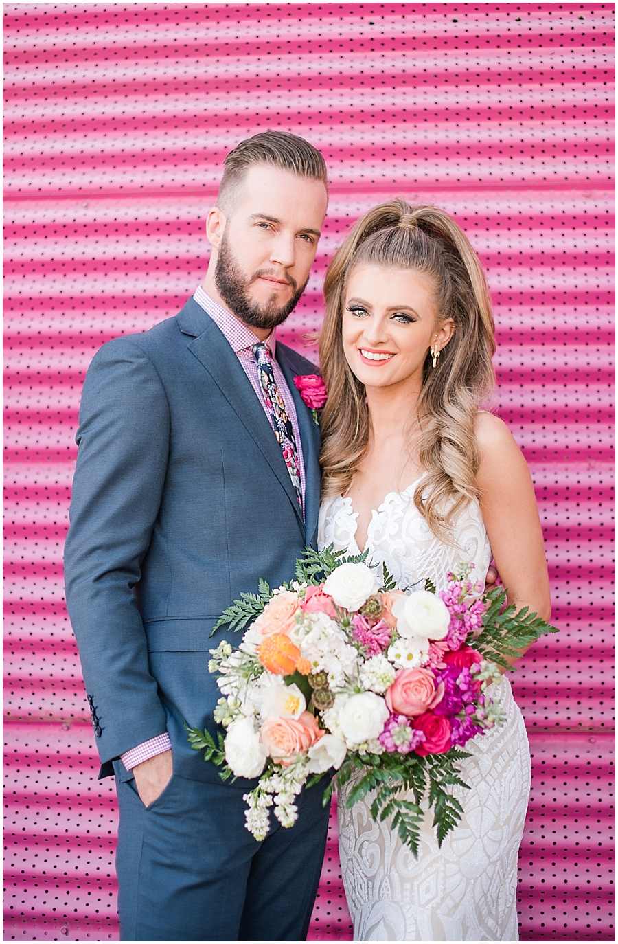 Gorgeous bride Natalie Meyer wearing a dress by Bella Lily Bridal, with her groom Zach Meyer at The Saguaro Scottsdale. Hair and makeup was done by Makiaj Beauty. Grooms tux was provided by Magro Clothing. Photos by Jade Min Photography.