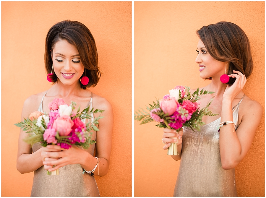 Gorgeous bridesmaid Rachele Harrison wearing fashion by Zara, hair and makeup done by Makiaj Beauty, and jewelry by @francesvintage. Photos taking by Jade Min Photography at The Saguaro Scottsdale.