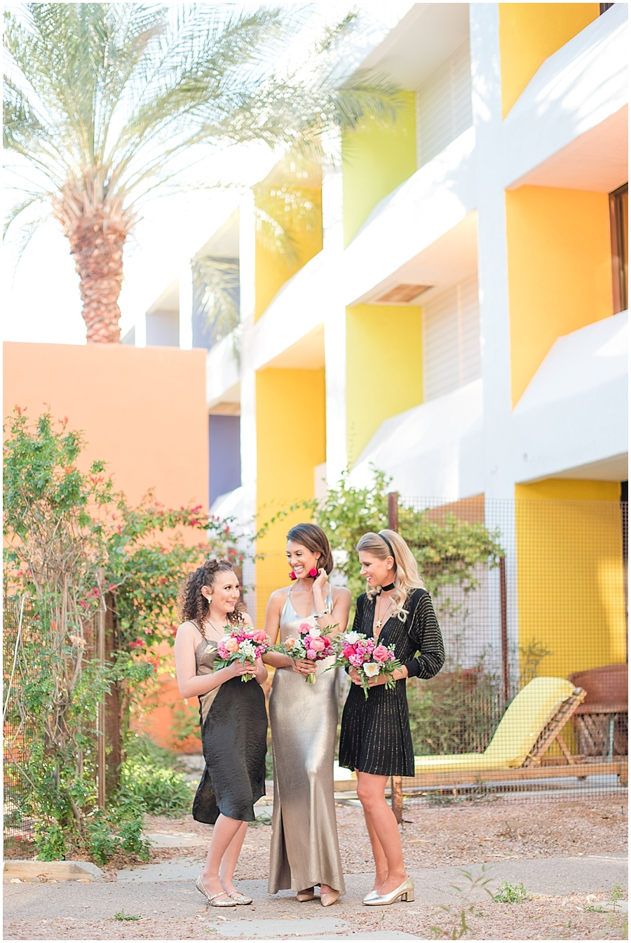 Gorgeous bridesmaids Rachele Harrison and Tatiana Bradasevic wearing fashions by Zara, hair and makeup done by Makiaj Beauty, and jewelry by @francesvintage. Photos taking by Jade Min Photography at The Saguaro Scottsdale.