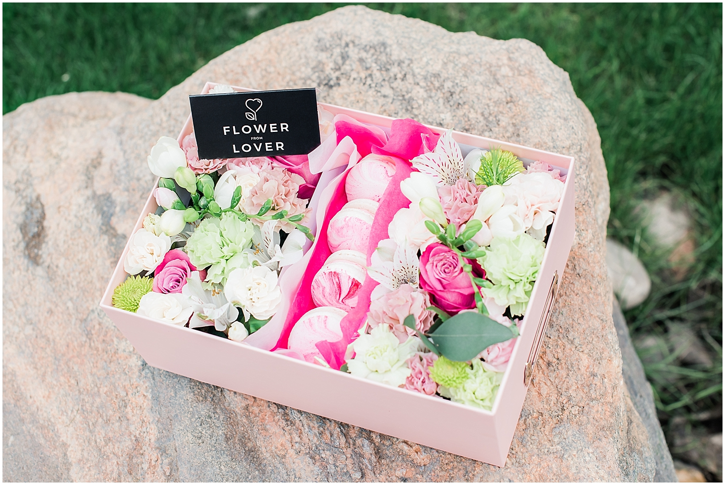 Beautiful box filled with an arrangement of lovely flowers and delicious French macarons made with love by Flower from Lower. Photos taken by Jade Min Photography.