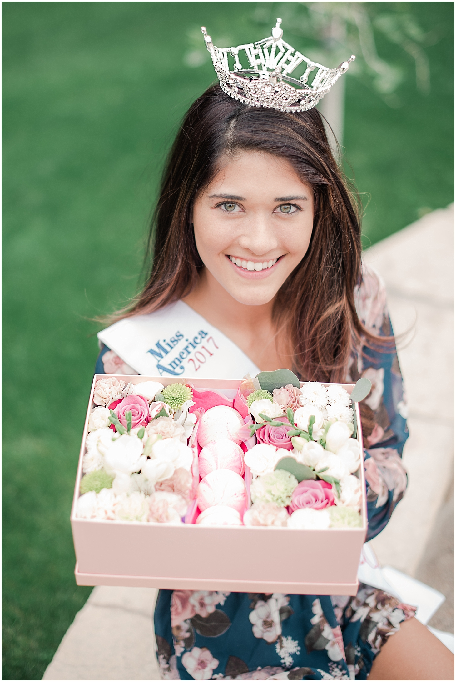 Beautiful box filled with an arrangement of lovely flowers and delicious French macarons made with love by Flower from Lower, and held by Miss Maricopa County 2017 Courtney Ortega. Photo taken by Jade Min Photography.