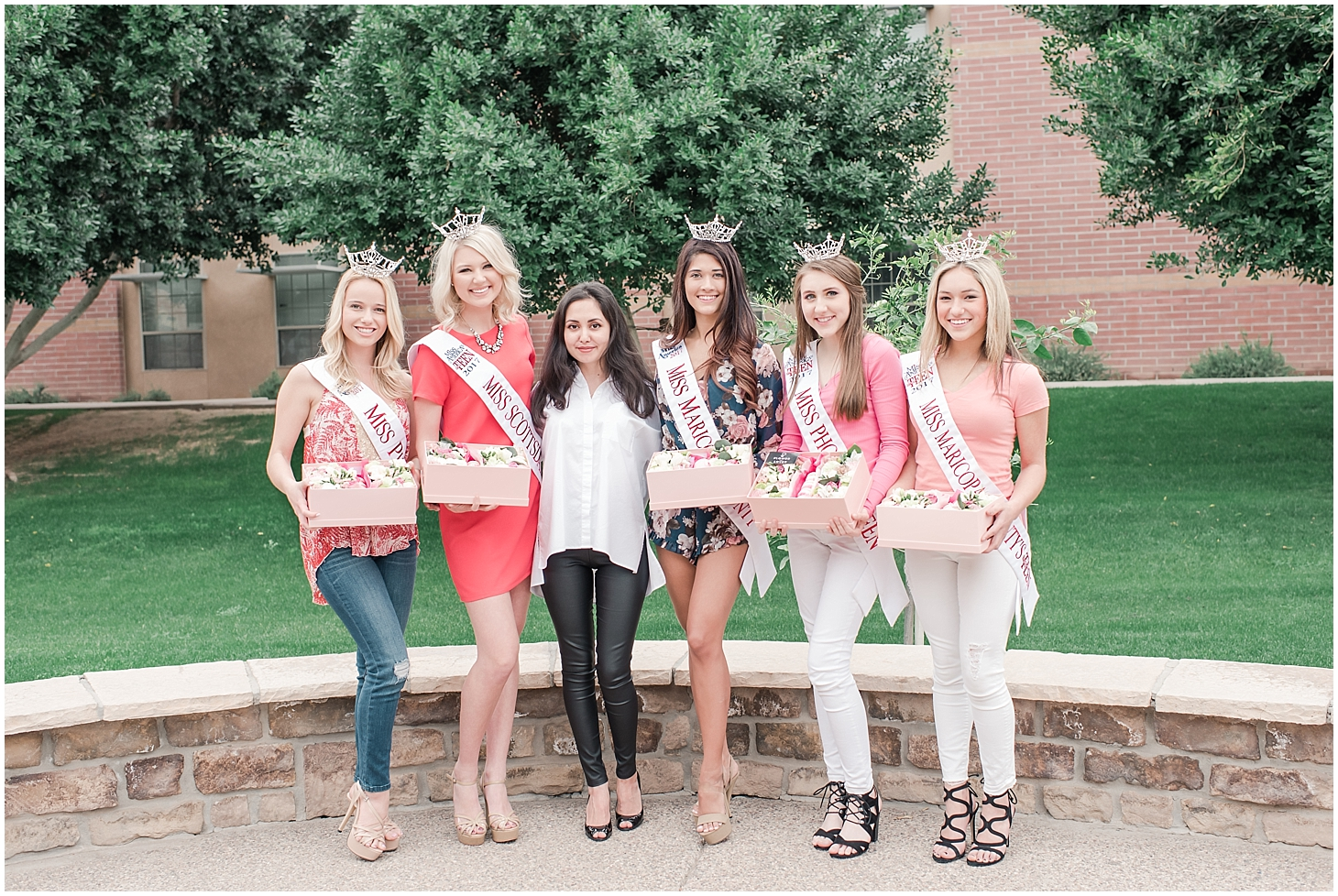 Beautiful boxes filled with an arrangement of lovely flowers and delicious French macarons made with love by Flower from Lower. Pictured are Miss Maricopa County 2017 Courtney Ortega, Miss Phoenix 2017 Alyssa Scofield, Miss Maricopa's Outstanding Teen Ela Wootton, Miss Scottsdale's Outstanding Teen Alyssa Hart, Miss Phoenix's Outstanding Teen Cassidy Miller, and founder of Flower from Lover Nadeera. Photo taken by Jade Min Photography.