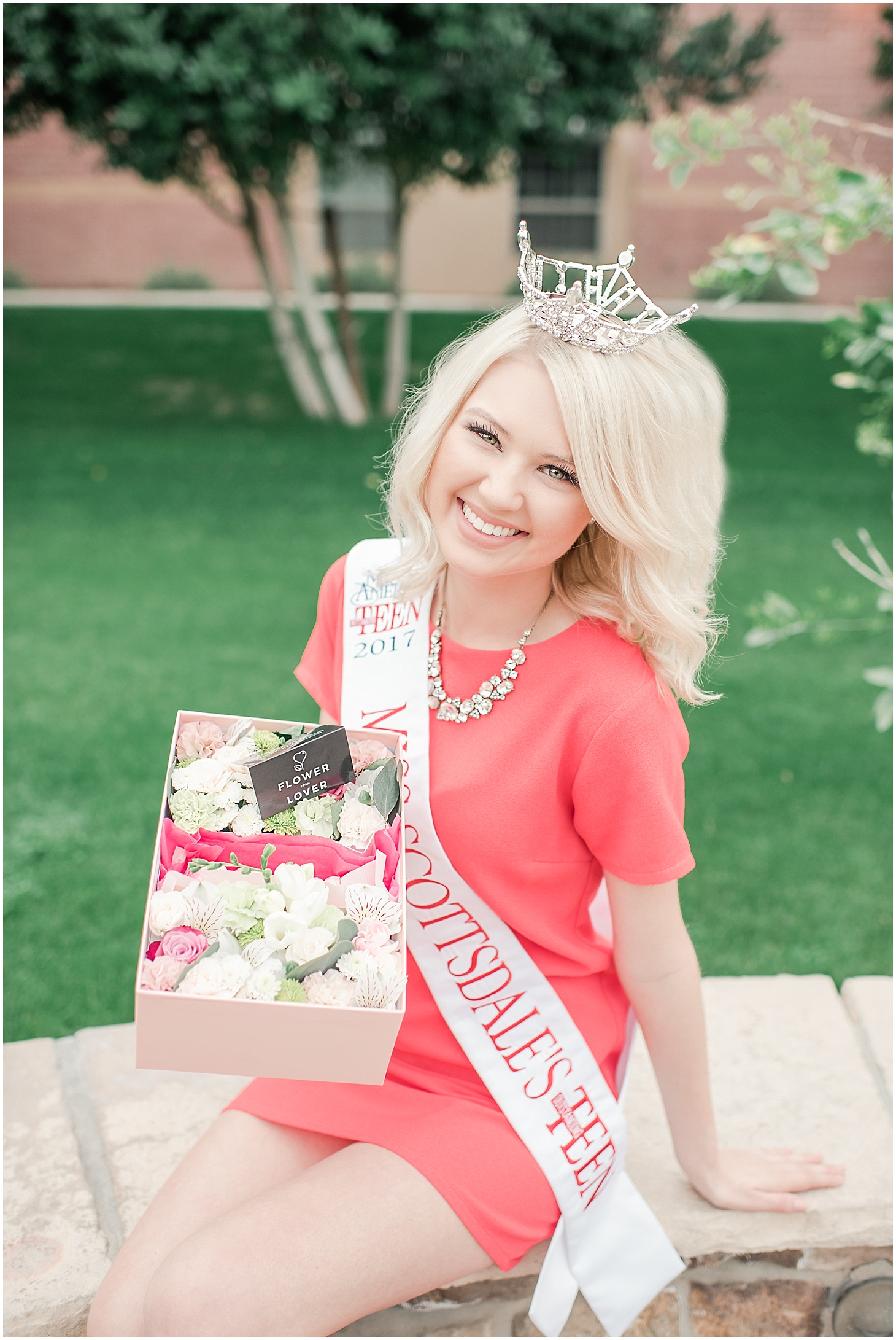 Beautiful box filled with an arrangement of lovely flowers and delicious French macarons made with love by Flower from Lower, and held by Miss Scottsdale's Outstanding Teen Alyssa Hart. Photo taken by Jade Min Photography.