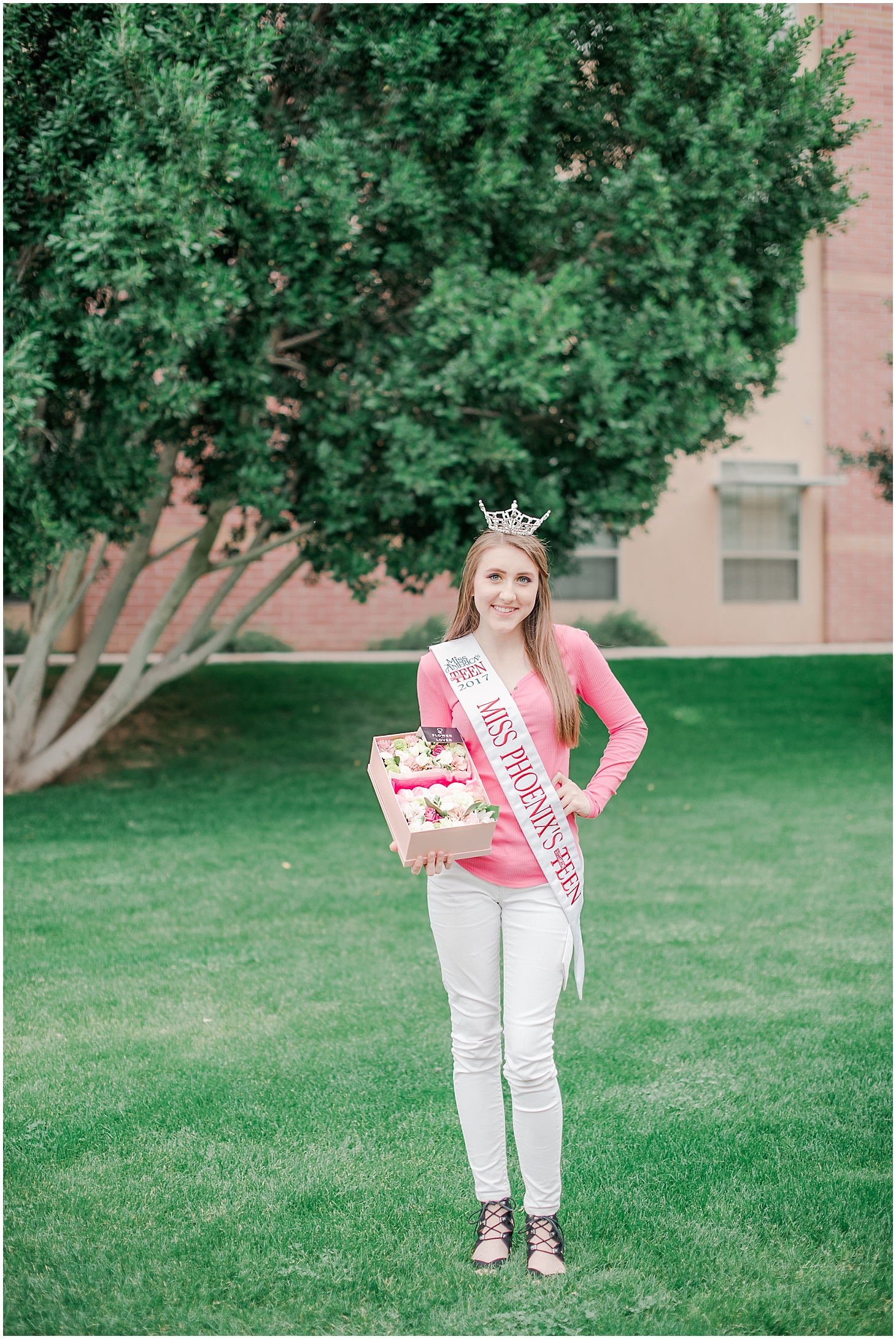 Beautiful box filled with an arrangement of lovely flowers and delicious French macarons made with love by Flower from Lower, and held by Miss Phoenix's Outstanding Teen Cassidy Miller. Photo taken by Jade Min Photography.