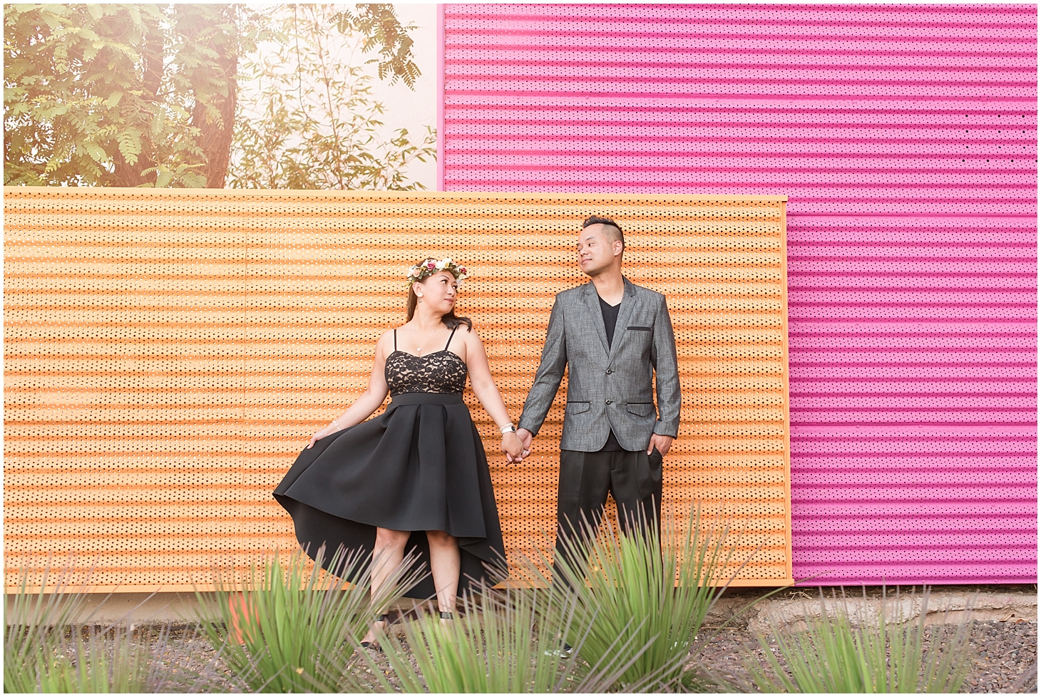 Engagement photo session with Hom Lalab and Van Nguon at Scottsdale Civic Center. Photo by Jade Min Photography.