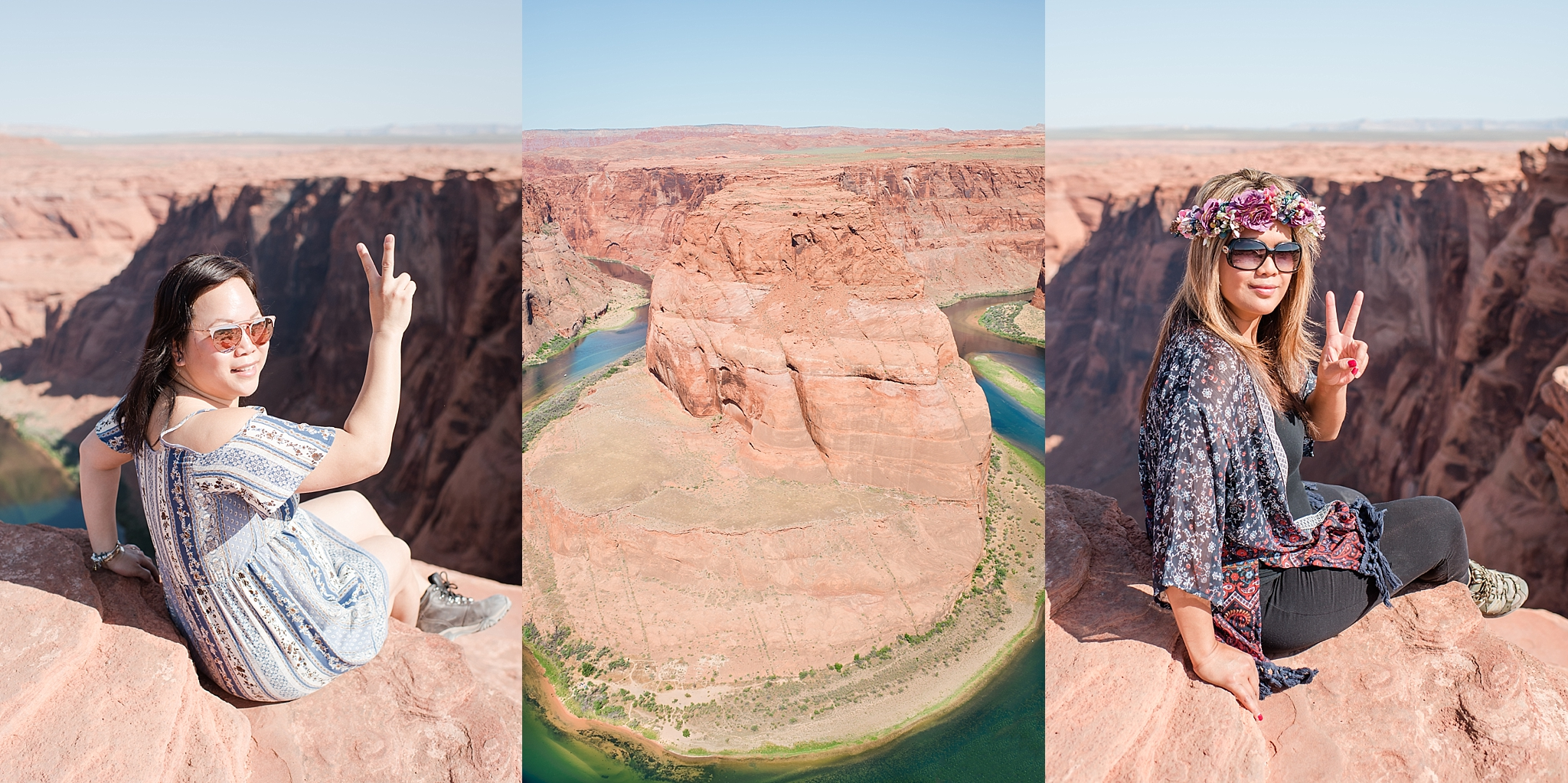 View of Horseshoe Bend during late morning near Page, Arizona. Travel photo by Jade Min Photography.