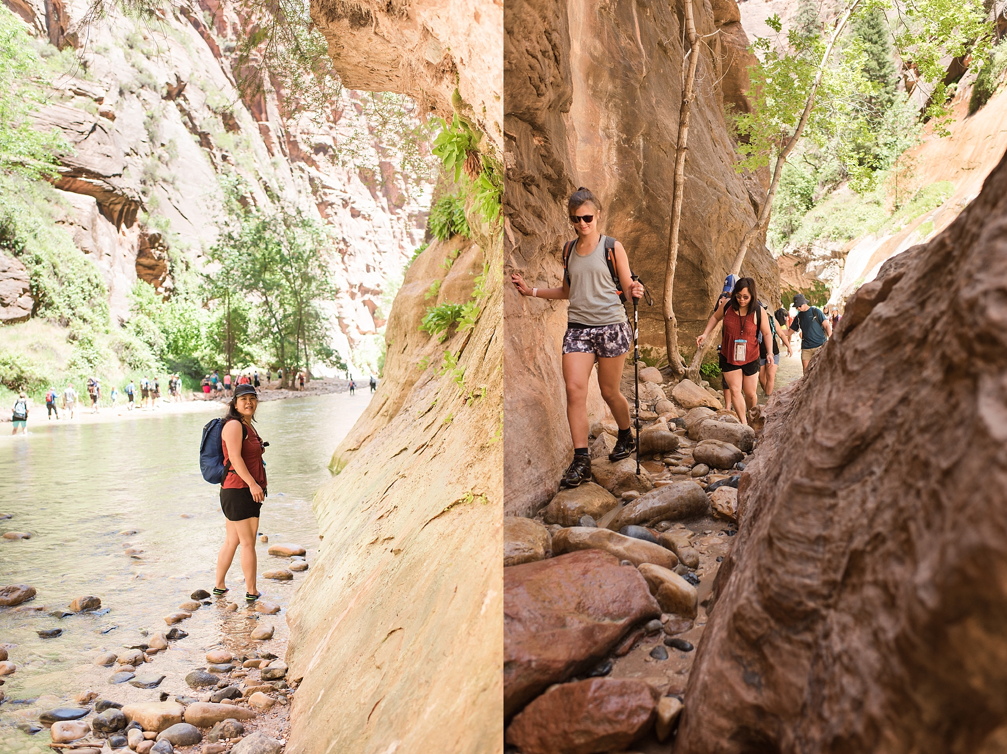 The Narrows hiking trail at Zion National Park near Springdale, Utah. Travel photo by Jade Min Photography.