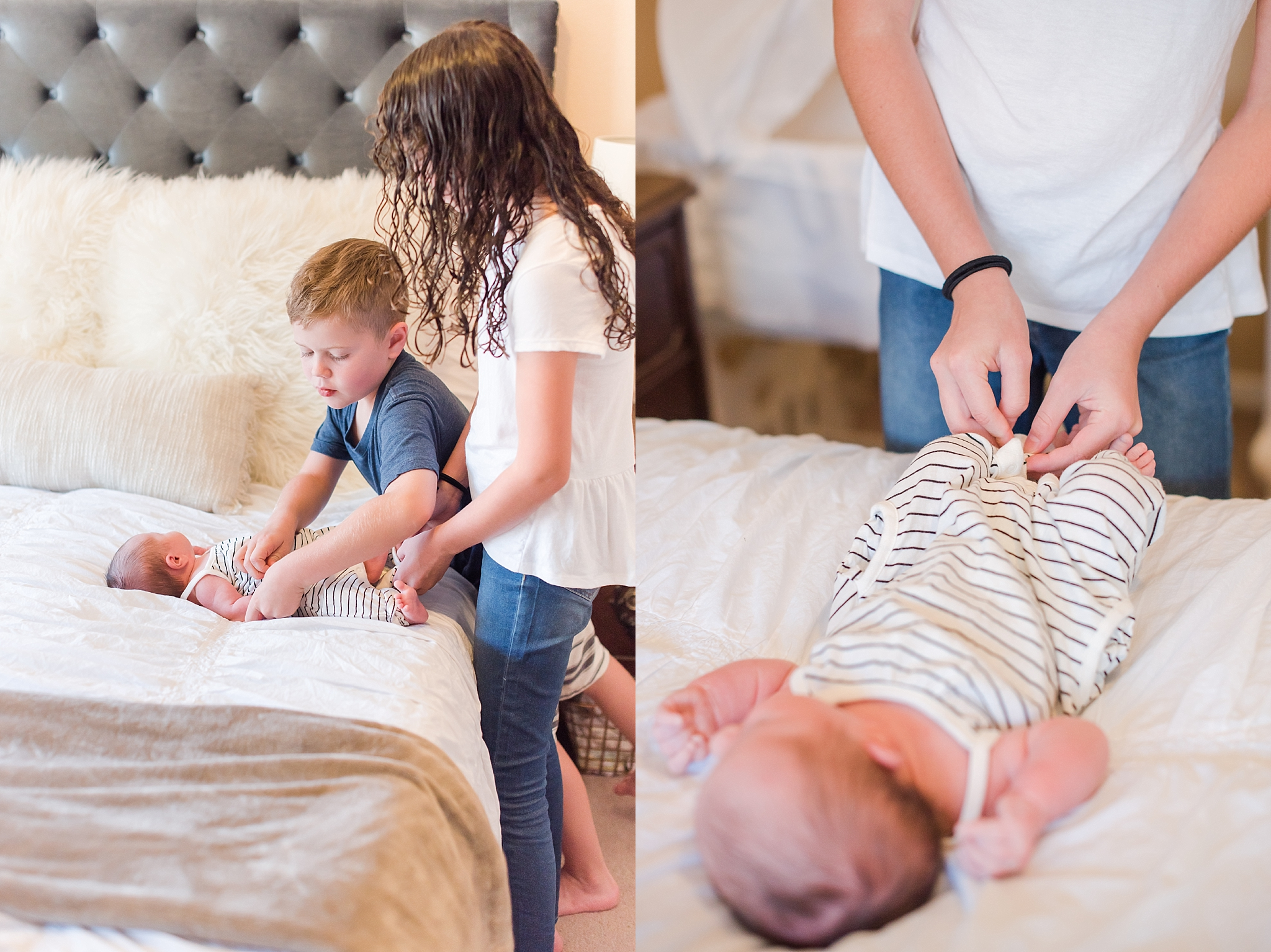 Kylee Palmer home lifestyle and newborn session with newborn and kids. Family photos by Jade Min Photography.