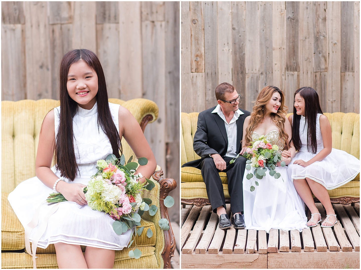 Lee Spack, Tina Dong, and Annie Dong, anniversary photo session at farm in Queen Creek, Arizona. Photos taken by Jade Min Photography.