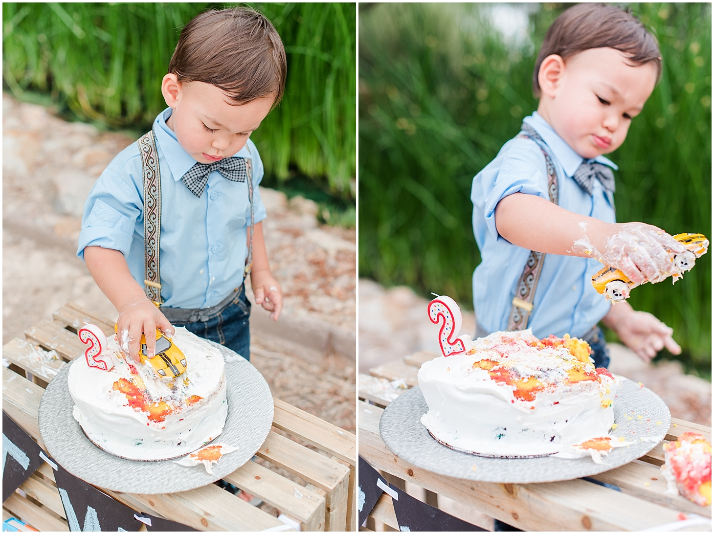 Lincoln's Cake Smash Photo Session for his third birthday at Gilbert Riparian Preserve. Photos by Jade Min Photography.