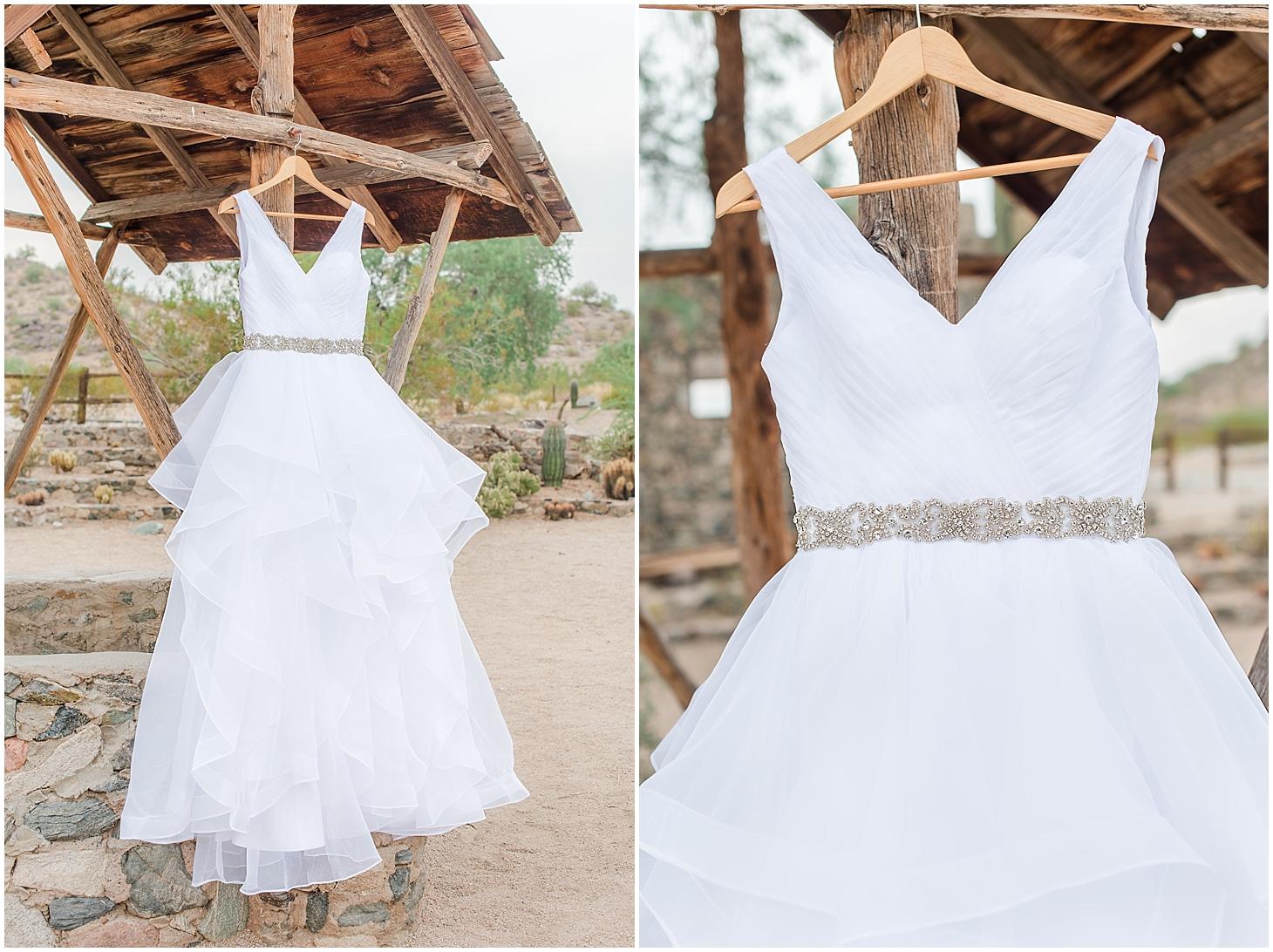 Amazing wedding dress photographed at Scorpion Gulch in Phoenix! Photos taken by Phoenix wedding photographer, Jade Min Photography.