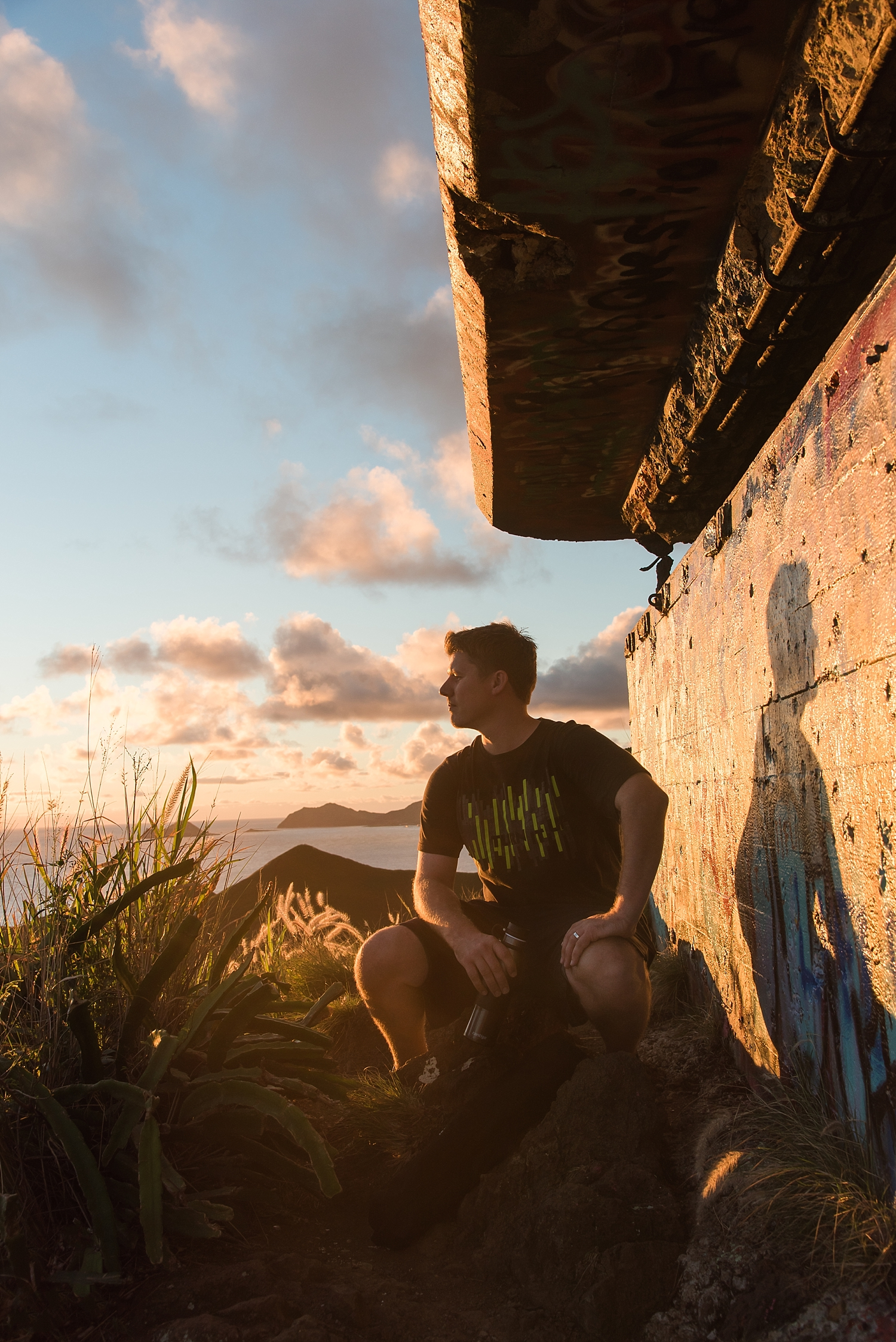 Kevin enjoying the view from the first pillbox just as the sun was starting to rise on this beautiful morning. -