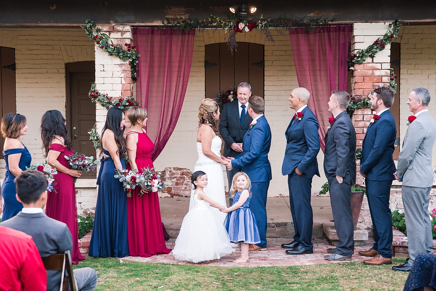 That's Kevin's Dad (Andrew) posing as the officiant for the wedding ceremony. We were all cracking jokes as we stood there. The adorable little girls standing with us are MacKenzie and Reese...they wanted to be part of the action.
