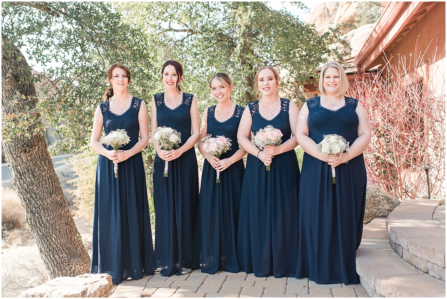 Bridesmaid portraits from Sarah and Brendan Rhodes Wedding in Prescott, Arizona. Photos by Jade Min Photography, based out of Gilbert, Arizona.