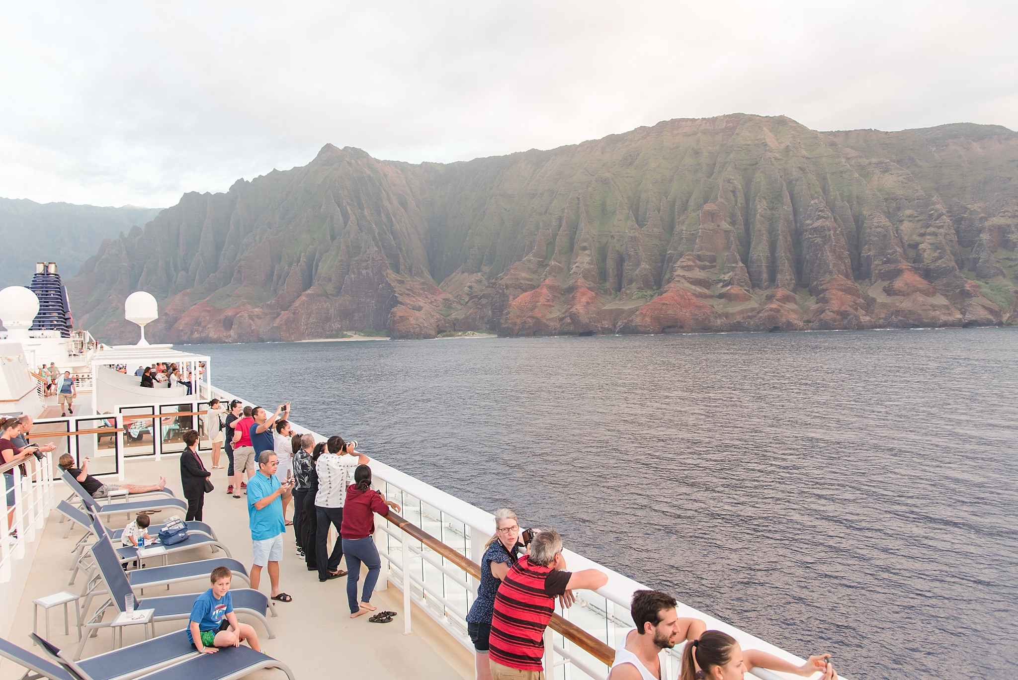 View of Na Pali Coast from the deck of the Pride of America.