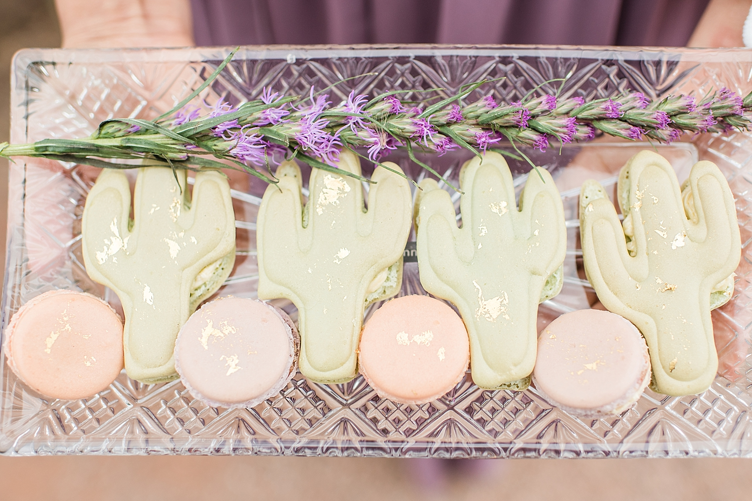 Lavender Inspired Bridal and Maid of Honor Session at Boyce Thompson Arboretum in Superior, Arizona. Photos taken by Wedding Photographer, Jade Min of Jade Min Photography, based out of Gilbert, Arizona. French macarons were provided by Decadent Macaron.