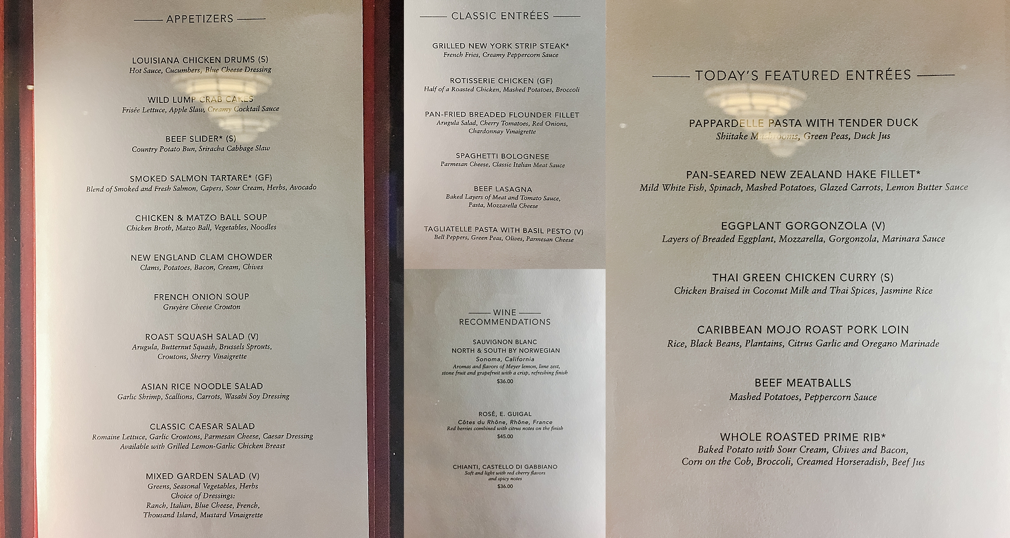 The Liberty Dining Room dinner menu...Pride of America Hawaii Cruise. Photos by Jade Min Photography.