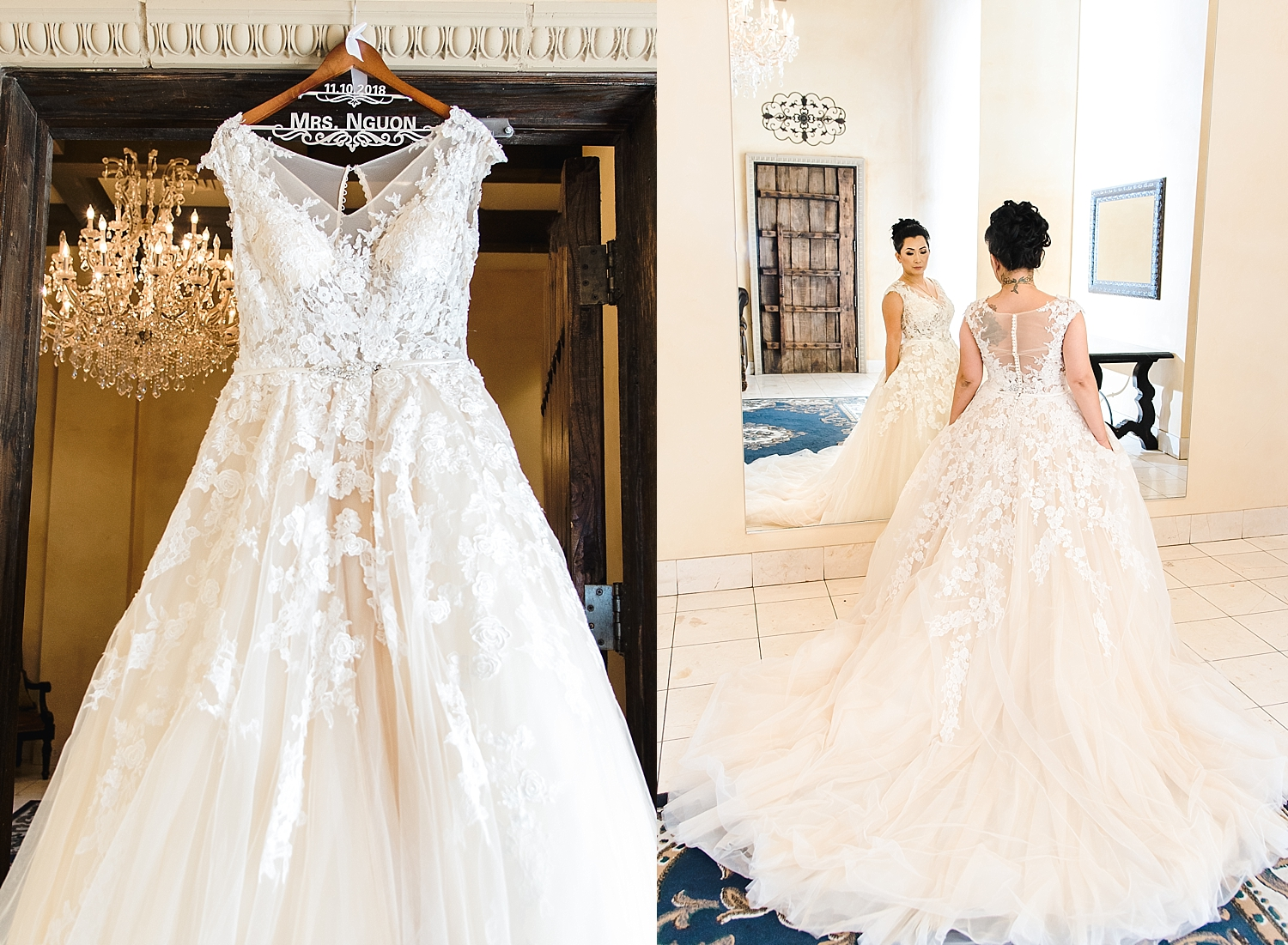Hom's blush wedding dress, photographed in bridal room at the Ashley Castle in Chandler, Arizona, by Jade Min of Jade Min Photography.