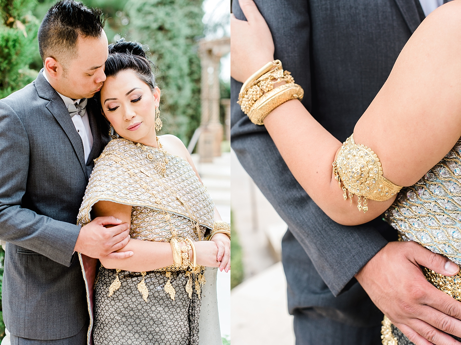 Hom and Van's First Look photo session at the Ashley Castle in Chandler, Arizona, photographed by Jade Min of Jade Min Photography.