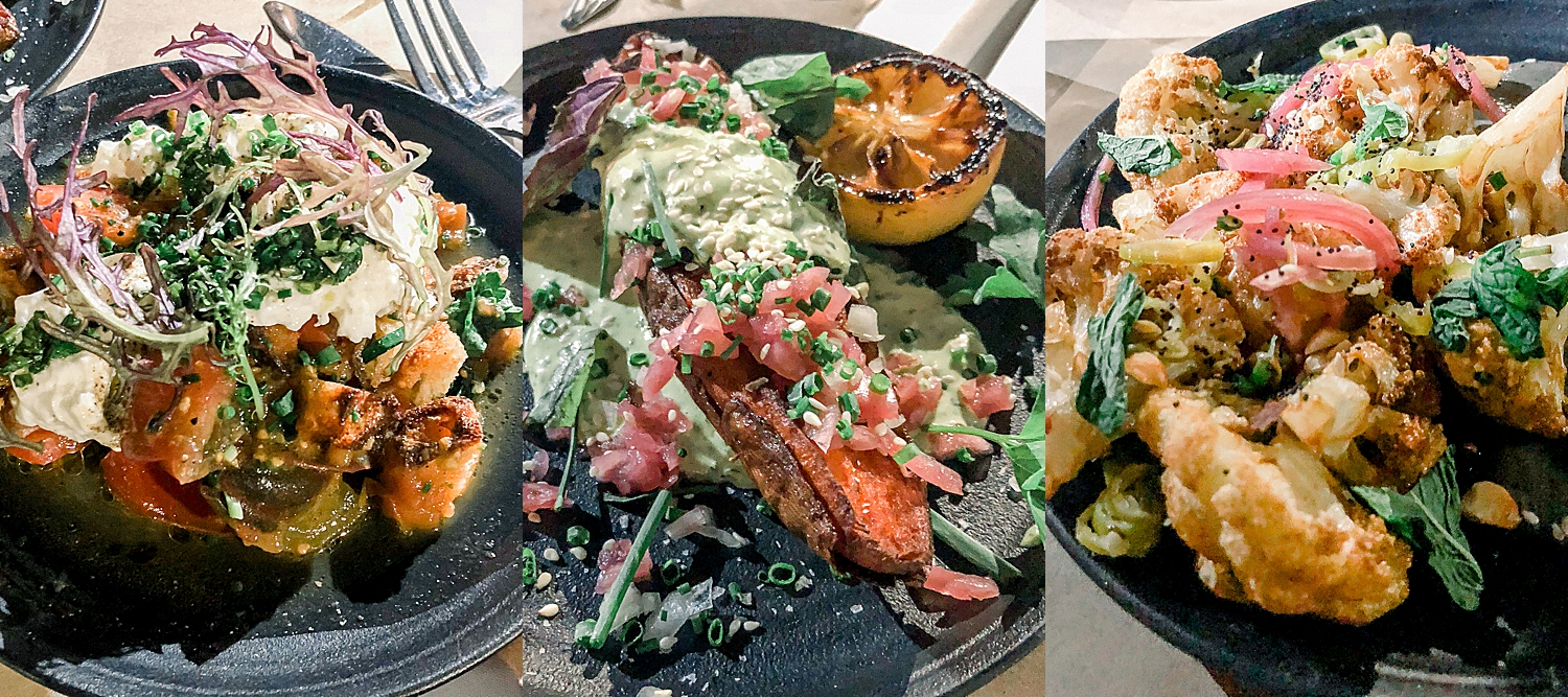 Garnett Yam, Burrata, and Roasted Cauliffower  from Ellie's in Long Beach, California. Photos taken by Jade Min Photography.