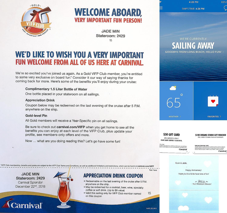 Carnival Gold Level Perks, Carnival Hubb App, Anniversary Gift.
