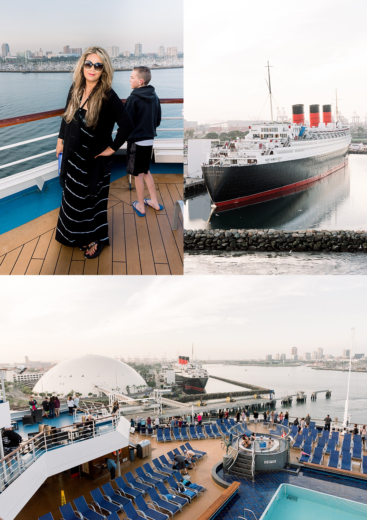 TOP LEFT: Me, with the Long Beach skyline in the background.  TOP RIGHT: The Queen Mary. She is open for tours, and you can even book rooms to stay there if you're brave enough to encounter the spirits of the ship.  BOTTOM: View from the ship (Deck 10) of the Queen Mary and the Long Beach skyline.