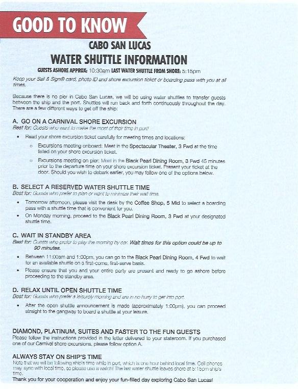 CARNIVAL SPLENDOR - CABO SAN LUCAS WATER SHUTTLE INFO