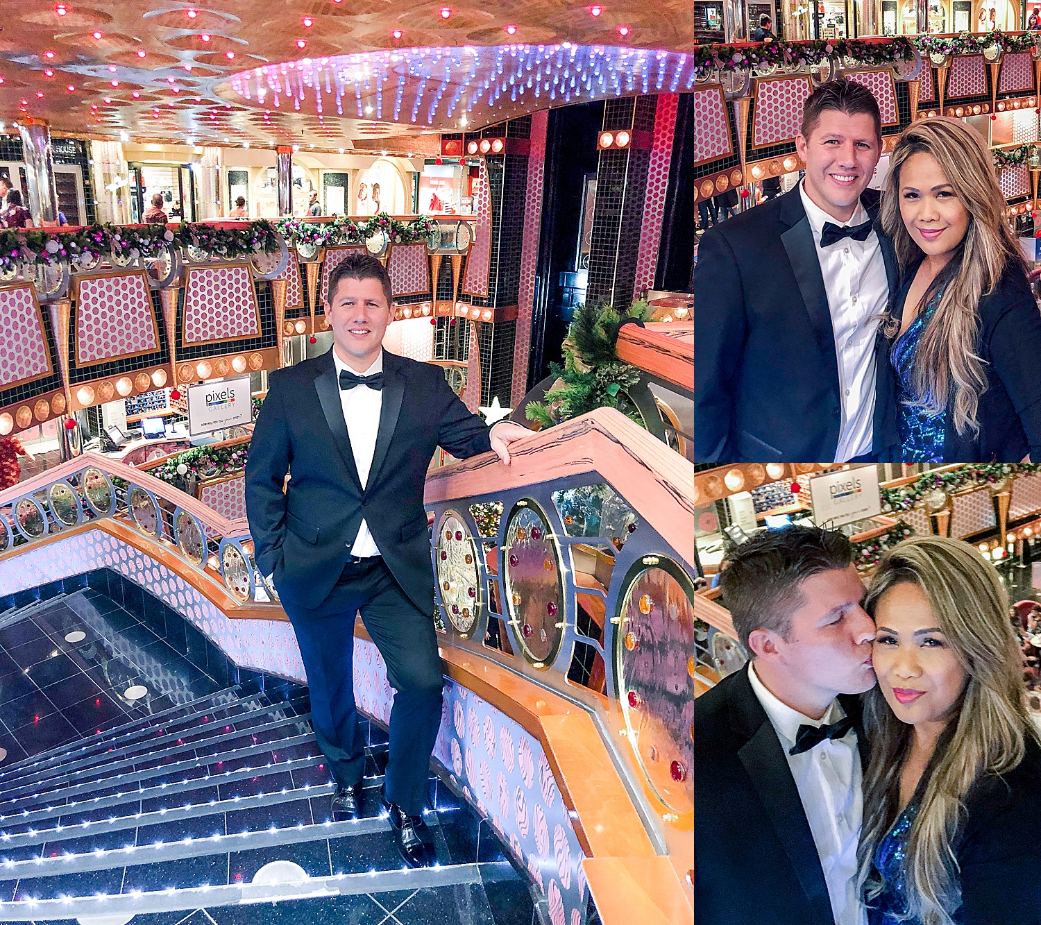Cruise Elegant night on the Carnival Splendor. Selfies of Jade and Kevin Urness.
