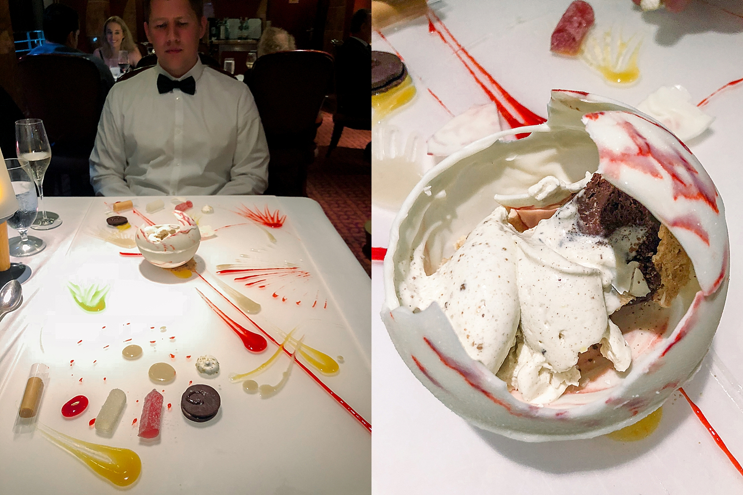 The 'Art at Your Table' Dessert offered by the Pinnacle Steakhouse on Carnival Splendor. Photos by Jade Min.