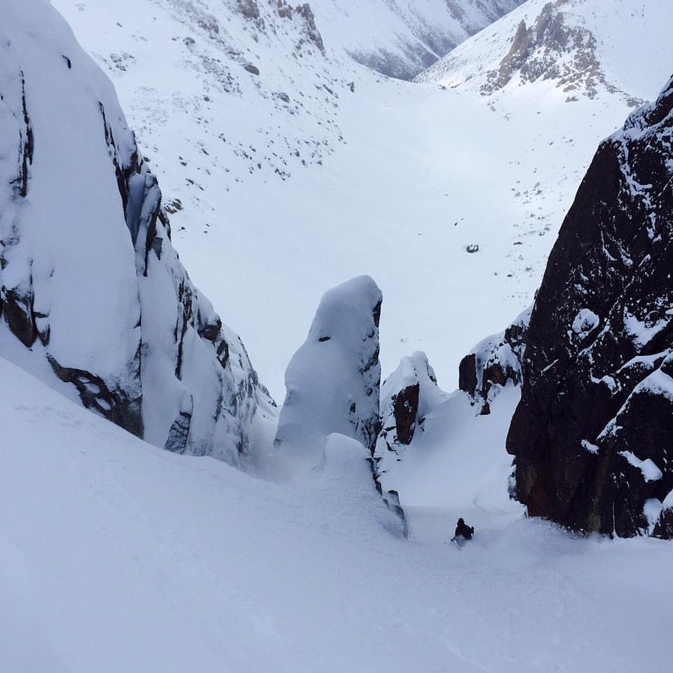 kevin hjertaas skiing a couloir in Argentina by Eric Hjorleifson