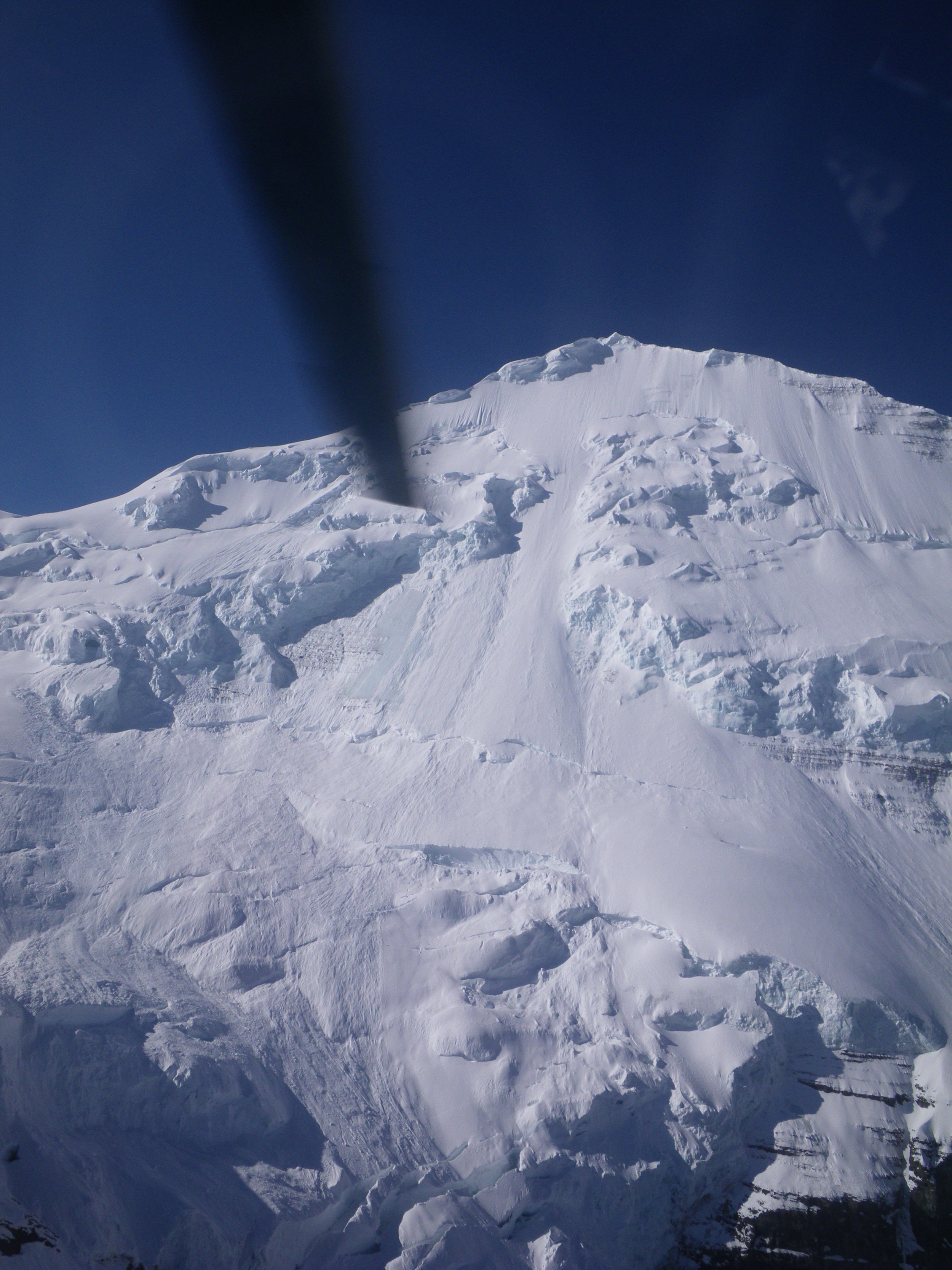 The upper North Face of Mt. Clemenceau from the air.