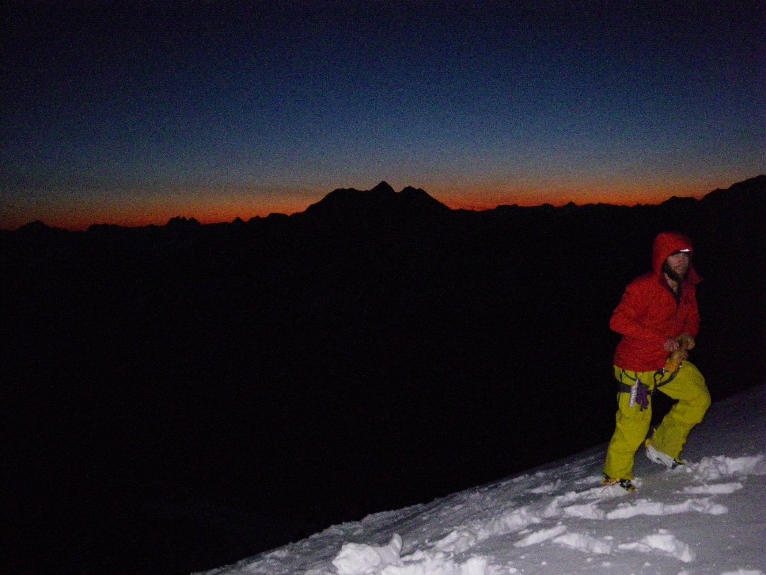 Eric Hjorlefison halfway up Mt Clemenceau's North Face.
