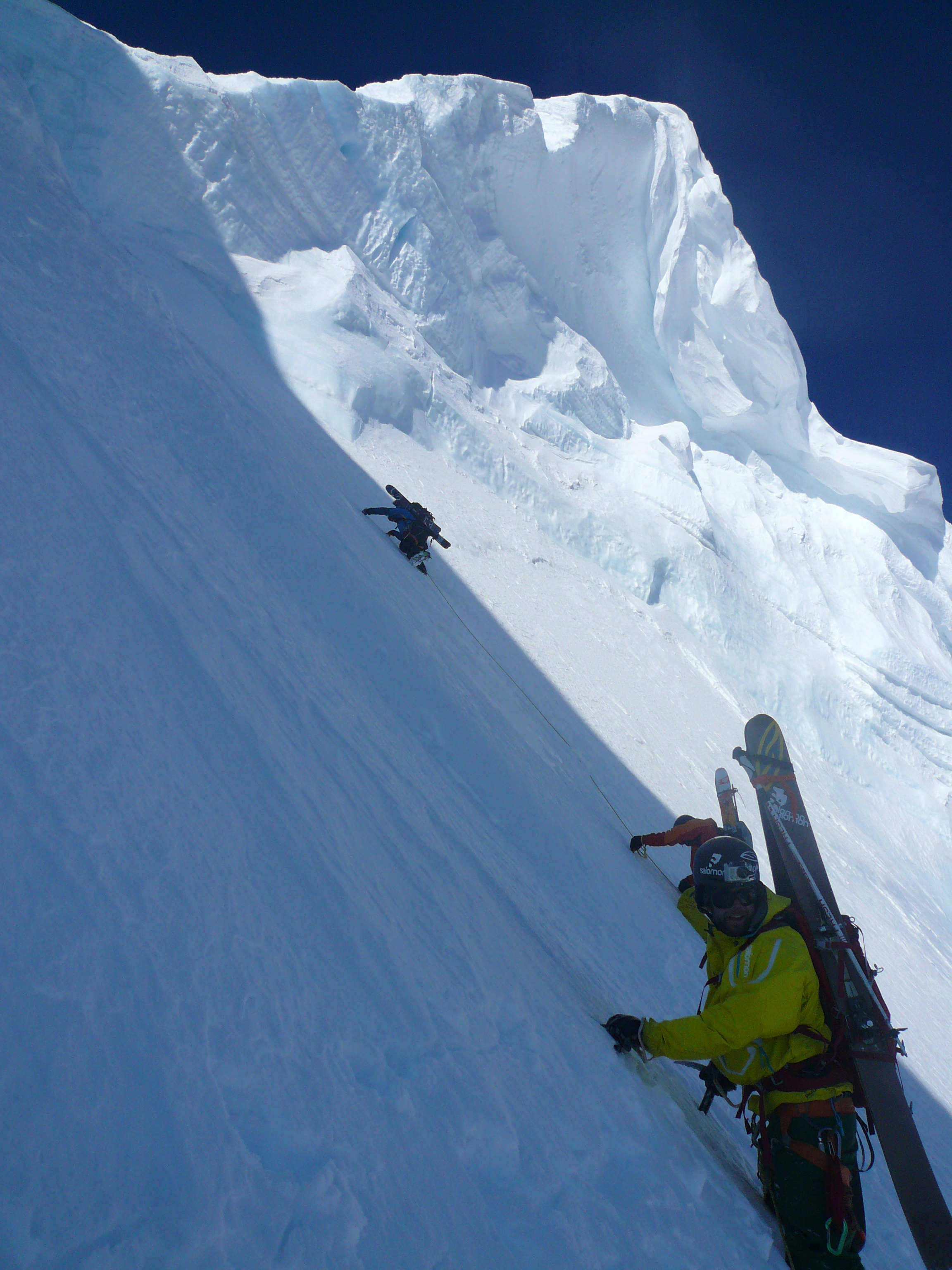 Chris Rubens, Eric Hjorleifson, Martin Lefebvre nearing the top of the North Face.