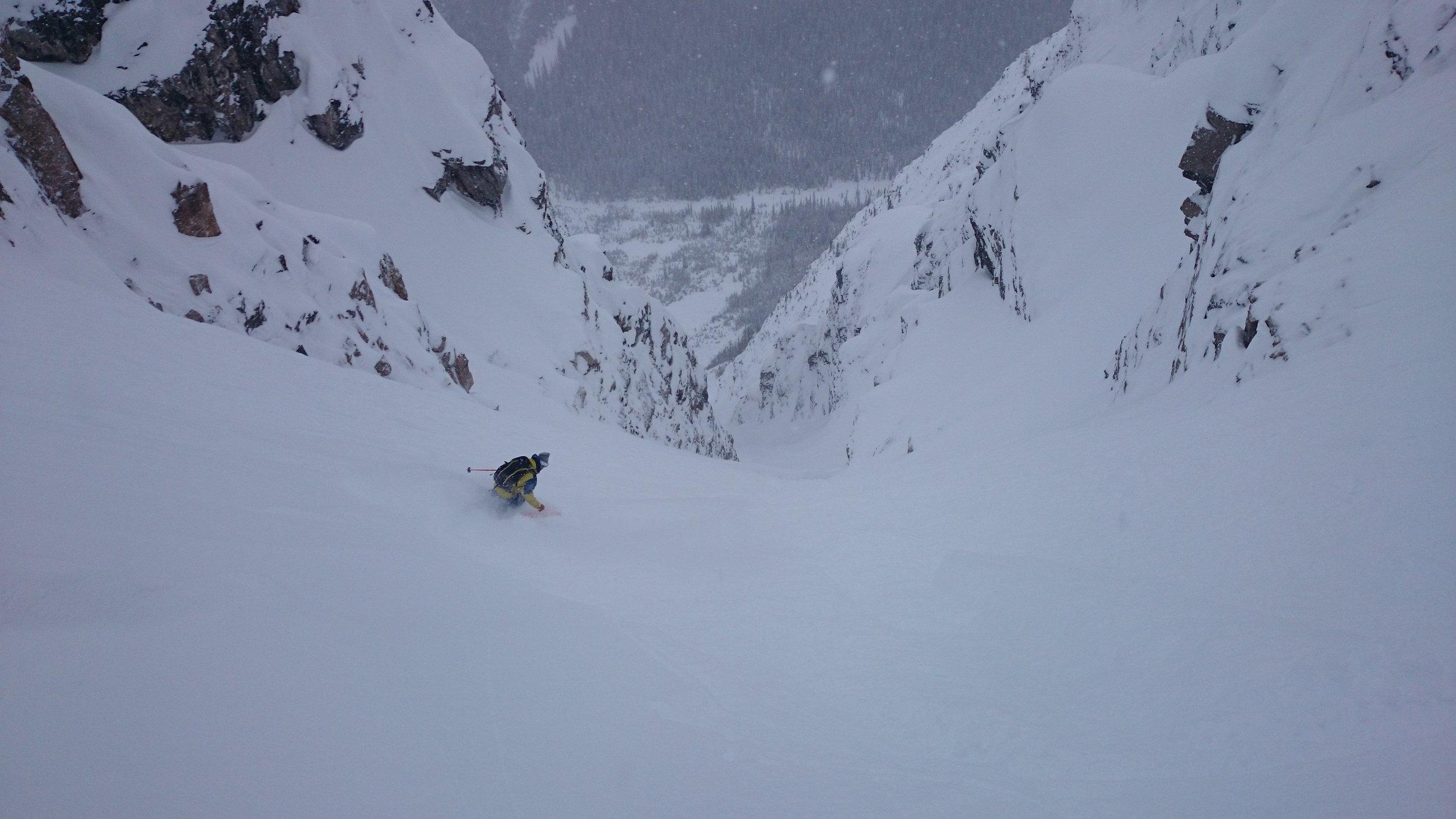 Chris Rubens skiing Boom Couloir