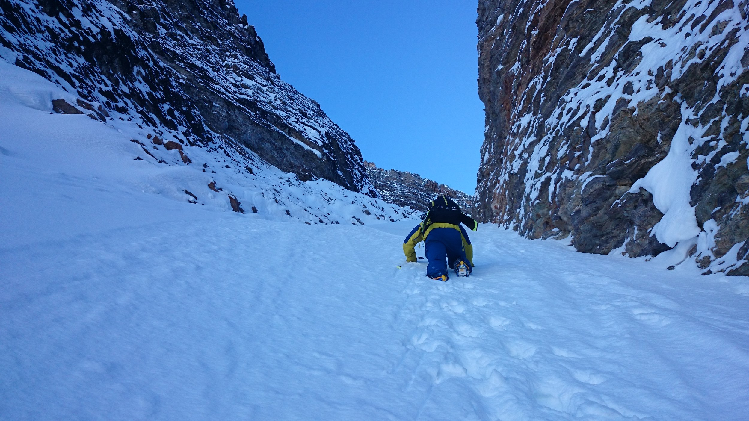 Chris Rubens bootpacking up a chute near Taylor Lake