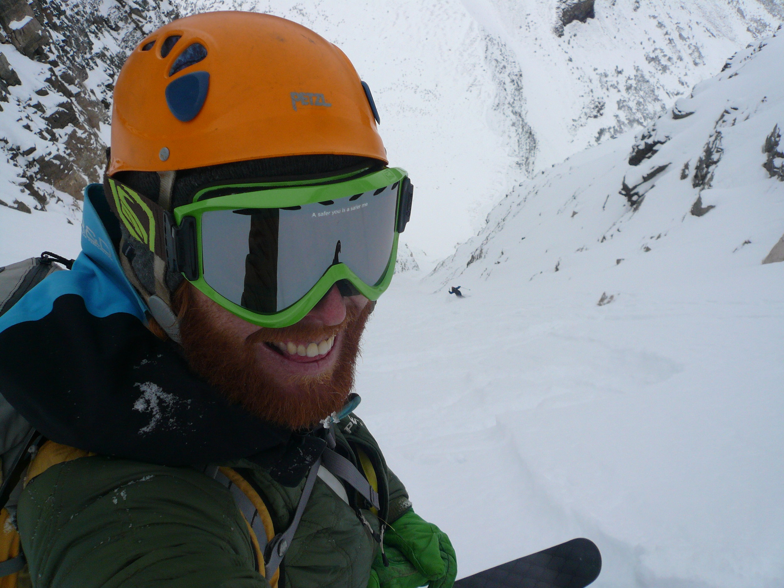 Hjertaas laughing as Lefebvre skis Aemmer Couloir