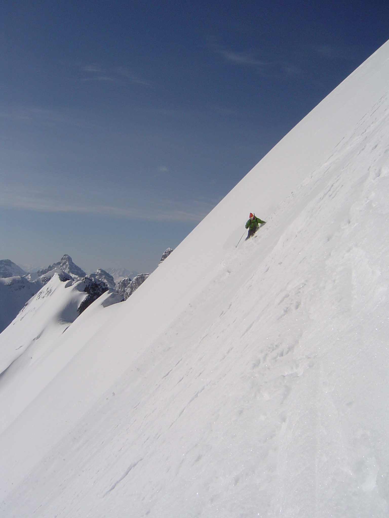 Eric Hjorleifson testing an early pair of EHPs on Mt Victoria's North Face. 2006??