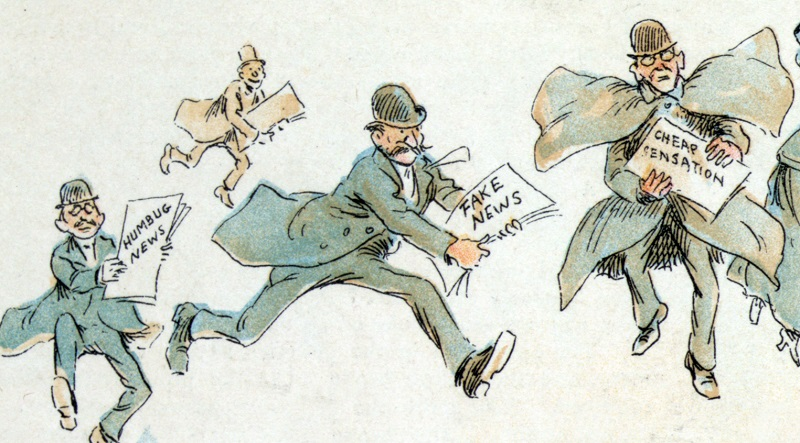 American cartoon (1894) depicting fake news. (Illustration: Frederick Burr Opper)
